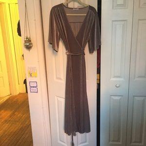 Zara Velvet Grey Wrap Gown